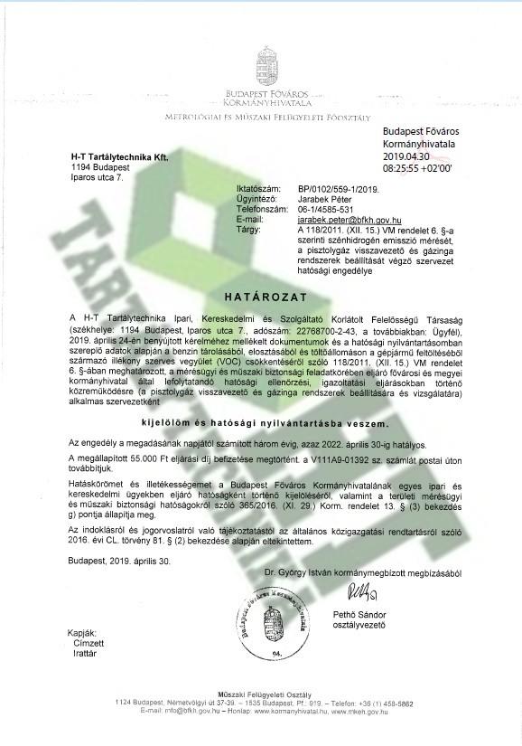 Hatósági engedély pisztolygáz-gázinga ellenőrzés